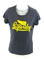 SUPERDRY Womens T Shirt Top M Medium Grey Cotton & Polyester