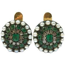 Antique Emerald, Pearl & Rose Cut Diamonds Silver and 18K Gold Earrings