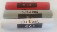 - PAYS BAS - 3 Rouleaux de 1;2;5 cents d'euro -- 2011 -- Neuf --- UNC --- RARE !