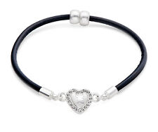 Black Leather & Crystal Silver Heart Charm Bracelet