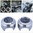"For Harley 7/8"" 1"" Motorcycle Handlebar Black Dial Clock Temp Thermometer Gauge"