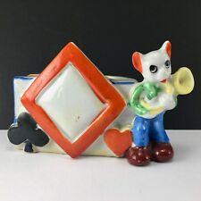 Mouse Musician Cigarette Holder/Bud Vase Hearts Diamond Club Vintage Japan