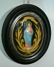 SACRED HEART RELIGIOUS PRINT GLASS OVAL FRAME 19th century
