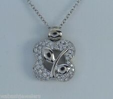 $5,350 Chimento 18K White Gold Diamond Floral Motif Chain Necklace Pendant