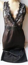 AX PARIS BLACK LACE PLUNGE FITTED PENCIL DRESS w BACK BUTTON SIZE 12