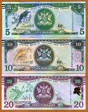 SET Trinidad and Tobago, 5;10;20 dollars, 2006 (2017), P-New, New Sig. UNC