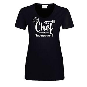 Fun Damen T-Shirt Chef Superpower Grillen Koch Gourmet Essen BBQ Chefkoch