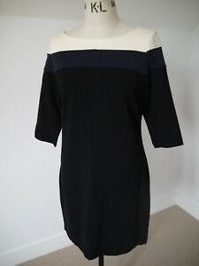 Larry Levine Black Cream Navy Stripe Stretch Jersey Shift Dress UK16 US12