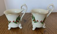 2 Neiman Marcus Christmas Holly Demitasse Cups Japan Collectable