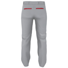 Alleson Warp Knit Baseball Pants With Side Braid Gr/Sc - Grey/Scarlet Al