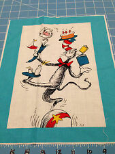"""Fabric Dr Seuss Cat in the Hat Cat Balance Act Quilt Sq 11 1/2"""" X 8  1/2"""""""