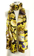 ECHO Design 100 Silk Python Snake Print Long Rectangle Scarf Yellow