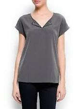 Mango Grey Embellished Neckline Blouse Ladies Size 8 Box11 22 i