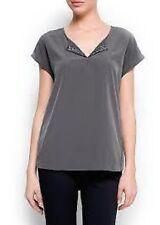 Mango Grey Embellished Neckline Blouse Ladies Size 8 Box1122 i