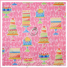BonEful Fabric Cotton Quilt Pink Happy Birth*day GIRL Cup*Cake Party Table SCRAP