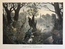 Deer Hunting  Antique Hand Colored Lithograph medium Folio Ca 1860 Berlin