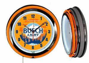 "Busch Light Beer Hunting 19"" Double Neon Clock Orange Neon Man Cave Bar Garage"