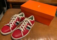 Hugo Boss Men's Red Leather Sneakers Shoes - Size: EU 41 / 8.5 US M - Worn Once!