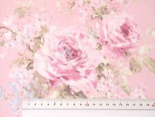 Reststück Sale Landhaus Rosen Deko Stoff Rosenstoffe rosa Bezugsstoff  75x1,40