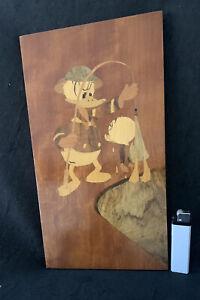 True Vintage Altes Wandbild Holzbild Donald Duck Holz Einlegearbeit Intarsien