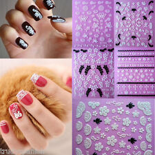 3D Nail Art Stickers Floral Flowers Bows Wedding UV Acrylic Tips Decoration