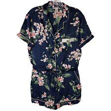 Victoria's Secret Soft Blue Floral Silky Romper Shorts Pajamas Sleepwear Size L