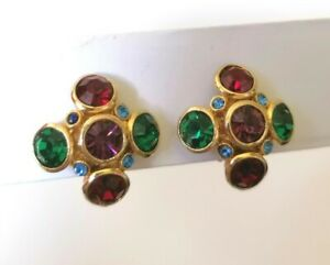 Vintage Harlequin Glass Colourful Gold Tone Renaissance Clip On Earrings