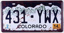 Vintage Metal Tin Sign Colorado Car License Plate Garage Poster Wall Door Plaque