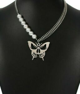 MIP- Skull designed Butterfly Pendant Hip-hop Pearl Multi-layer Necklace