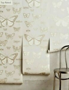 NWT Anthropologie Cole & Son Butterflies & Dragonflies LEPIDOPTERA Lt Gray Gold