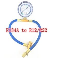 R134A to R12/R22 Autos Air Conditioning Refrigerant Recharge Hose Pipe+can Gauge