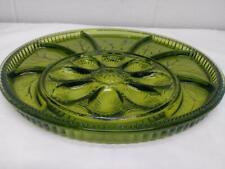 "Vintage Dark Green Indiana Glass Deviled Egg Divided Relish Tray Platter 13"""