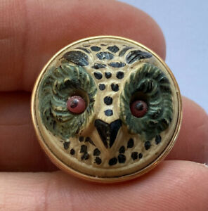 Deluxe Rare Antique Vintage Caramel Glass In Metal Owl Button Enamel Glass Eyes