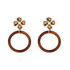 KISS ME Gold Resin FLowers Stereoscopic Simple Fashion Drop Earrings ed01941d