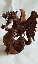 Hand made wooden dragon statue 19cm.
