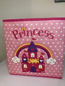 """Princess Pink Castle Fabric Storage Cube 10.5"""" Cube Collapsible"""