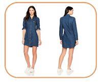 Calvin Klein Women's Long Sleeve Denim Dress - Indigo ~ X-Large