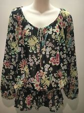 Next Floral Elastic Waist Long Sleeve Scoop Neck Top Size UK 16 Fit AU 14 16
