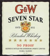 Unused 1940s ILLINOIS Peoria Gooderham Worts GW SEVEN STAR WHISKEY large Label