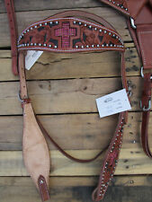 WESTERN HEADSTALL BREASTCOLLAR PINK PLEASURE TRAIL LEATHER HORSE BRIDLE TACK SET