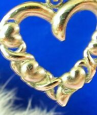 Beautiful Sterling Silver 925 Ornate Heart pendant charm marked NF   ce
