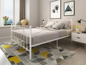 Panana Bed 4FT6 Double Modern Metal Bed Frame With Sprung Foam Mattress Base