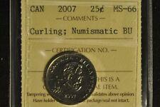 Canada 2007 Quarter 25 Cent - Curling - ICCS - MS66 -