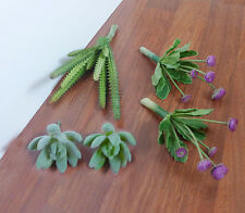 Artificial Mini Purple Flower With Green Succulents Plants (set of 5)