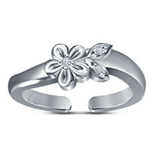 Flower Midi Knuckle Adjustable Toe Ring 14K White Gold Over Cubic Zirconia Heart