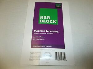 H&R Block Tax Software 2020 Deluxe Federal State w/Bonus 1336608-20