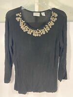 Chico's Travelers Women Scoop Neck Shirt Size 1 Black Tan embellished 3/4 Sleeve