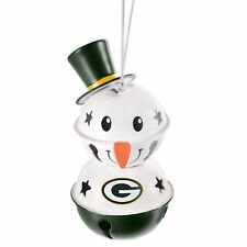 Green Bay Packers 2 Tier Snowman Bell Ornament Christmas Tree Holiday NEW