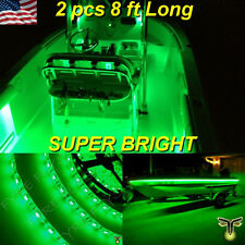 "2x 8' (96"") Green LED Boat Deck Light Waterproof Bow Trailer Fishing Pontoon 12v"