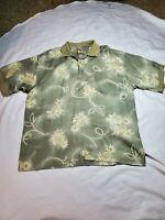 Tommy Bahama 100% Silk Hawaiian polo Shirt Mens XL Floral pineapple Short Sleeve